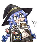 1girl bangs black_headwear black_skirt blue_eyes blue_hair blue_ribbon braid brown_cape cape chibi commentary_request eyebrows_visible_through_hair hair_between_eyes hair_flaps hair_ribbon hat kanikama long_hair long_sleeves looking_away looking_to_the_side low_twintails lowres mushoku_tensei ribbon roxy_migurdia shirt simple_background skirt solo twin_braids twintails very_long_hair wavy_mouth white_background white_shirt witch_hat