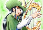 1boy bangs black_hair blue_eyes blue_vest buttons cloak closed_mouth collared_shirt commentary_request eyelashes green_background green_cloak green_headwear hand_up hat high_collar highres holding holding_instrument instrument long_hair long_sleeves looking_at_viewer male_focus nando_(pokemon) oka_mochi pokemon pokemon_(anime) pokemon_dppt_(anime) shirt smile solo traditional_media upper_body vest white_shirt