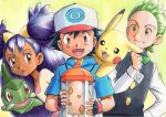1girl 2boys :d :o ash_ketchum axew bangs baseball_cap big_hair black_gloves black_hair black_vest blue_jacket bow bowtie brown_eyes cilan_(pokemon) closed_mouth commentary_request dark-skinned_female dark_skin eyelashes fingerless_gloves gloves green_eyes green_hair green_neckwear hand_up hat highres holding iris_(pokemon) jacket long_hair long_sleeves multiple_boys oka_mochi open_mouth pikachu pokemon pokemon_(anime) pokemon_(creature) pokemon_bw_(anime) pokemon_egg pokemon_on_back purple_hair shirt short_sleeves smile spiky_hair tongue traditional_media two_side_up vest white_shirt yellow_background yellow_shirt