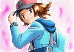 1boy baseball_cap blue_jacket bracelet brown_eyes brown_hair closed_mouth commentary hand_on_headwear hat highres hilbert_(pokemon) hood hooded_jacket jacket jewelry long_sleeves looking_back male_focus oka_mochi pink_background poke_ball_print pokemon pokemon_(game) pokemon_bw red_headwear short_hair smile solo traditional_media upper_body