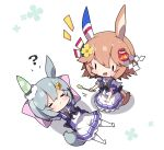 2girls :d ? animal_ears arms_behind_back arms_up blush brown_eyes brown_hair chibi closed_mouth commentary_request daruma_doll flower hair_between_eyes hair_flower hair_ornament highres horse_ears horse_girl horse_tail lying matikanefukukitaru_(umamusume) milkpanda multiple_girls no_shoes notice_lines on_back open_mouth pillow pleated_skirt puffy_short_sleeves puffy_sleeves purple_shirt school_uniform seiun_sky_(umamusume) seiza shirt short_hair short_sleeves silver_hair sitting skirt smile tail thigh-highs tracen_school_uniform umamusume white_background white_legwear white_skirt yellow_flower
