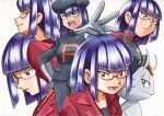 1girl alolan_form alolan_meowth bangs black_headwear black_jacket black_pants black_shirt blunt_bangs buttons closed_mouth commentary_request glasses gloves grey_gloves hat highres jacket matori_(pokemon) multiple_views oka_mochi open_mouth outstretched_arm pants parted_lips pokemon pokemon_(anime) pokemon_(creature) pokemon_dppt_(anime) pokemon_xy_(anime) purple_hair red_jacket shiny shiny_hair shirt short_hair simple_background smile spread_fingers team_rocket team_rocket_uniform tongue traditional_media upper_teeth violet_eyes white_background