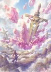 ambiguous_gender blue_sky clouds crystal fantasy garutaisa original oversized_object planted planted_sword red_scarf scarf scenery sky solo standing sword weapon