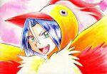 1boy blue_hair disguise green_eyes iwane_masaaki james_(pokemon) legendary_pokemon male_focus moltres pink_background pokemon pokemon_(anime) portrait smile