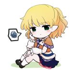 1girl arm_cuffs bangs black_eyes black_footwear blonde_hair blue_skirt blush breasts brown_shirt brown_sleeves chibi closed_mouth eyebrows_visible_through_hair grass green_eyes hair_between_eyes hand_on_own_face hand_up looking_at_viewer medium_breasts mizuhashi_parsee pointy_ears rei_(tonbo0430) scarf shirt shoes short_hair short_sleeves simple_background sitting skirt socks solo touhou white_background white_legwear white_neckwear white_scarf