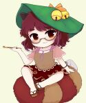 1girl animal_ears bangs bell bottle bow brown_eyes brown_footwear brown_hair brown_shirt brown_skirt chibi cigarette closed_mouth eyebrows_visible_through_hair futatsuiwa_mamizou glasses green_headwear hair_between_eyes hand_up hat hat_bow highres looking_to_the_side pink_sleeves raccoon_ears raccoon_tail rei_(tonbo0430) sandals shirt short_hair short_sleeves simple_background sitting skirt smile solo t-shirt tail touhou yellow_background yellow_bow