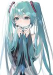 1girl aqua_eyes aqua_hair aqua_nails bangs bare_shoulders blue_neckwear closed_mouth detached_sleeves fingernails hair_tie hatsune_miku holding holding_hair light_blush long_hair looking_at_viewer nail_polish necktie sidelocks simple_background solo twintails upper_body vocaloid white_background zumi_(neronero126)