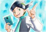1boy black_hair blue_background buttons commentary_request green_eyes green_hair green_neckwear half-closed_eyes hands_up highres holding long_sleeves male_focus multicolored_hair necktie oka_mochi open_mouth pokemon pokemon_(game) pokemon_dppt pokemon_platinum short_hair smile solo thorton_(pokemon) tongue traditional_media two-tone_hair upper_body