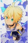 1boy bare_shoulders bass_clef black_legwear black_shorts black_sleeves blonde_hair d_futagosaikyou detached_sleeves expressionless foreshortening from_above full_body green_eyes grey_shirt headphones highres kagamine_len kagamine_len_(append) male_focus pendant_choker shirt shorts sleeveless sleeveless_shirt spiky_hair star_(symbol) turtleneck vocaloid vocaloid_append