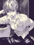 1girl breast_pocket cigarette collarbone collared_shirt commentary elbow_rest eyebrows_visible_through_hair greyscale hand_in_pocket katsuoboshi monochrome original pants pocket shirt short_hair sitting sleeves_rolled_up smoke smoking solo