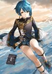 1boy bangs beach black_jacket black_shorts blue_hair book boots brown_eyes commentary_request eyebrows_visible_through_hair genshin_impact highres jacket knee_boots knee_up long_sleeves looking_at_viewer male_focus nima_(niru54) parted_lips sand shallow_water shirt short_shorts shorts sitting solo water white_footwear white_shirt wide_sleeves xingqiu_(genshin_impact)