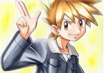 1boy bangs blonde_hair blue_oak breast_pocket brown_eyes collarbone commentary grey_jacket hand_up highres jacket jewelry leather leather_jacket male_focus necklace oka_mochi parted_lips pocket pokemon pokemon_(game) pokemon_hgss shirt short_hair smile solo spiky_hair traditional_media upper_body white_shirt yellow_background