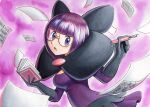 1girl :o bangs blunt_bangs blush book commentary dress eyelashes glasses gloves hands_up highres holding holding_book holding_pen looking_at_viewer oka_mochi open_mouth paper pen pokemon pokemon_(game) pokemon_bw purple_background purple_dress purple_hair shauntal_(pokemon) short_hair solo tongue traditional_media violet_eyes