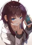 1girl absurdres ahoge blue_eyes blush brown_hair calling canizzz cellphone collarbone counter_side eyebrows_visible_through_hair finger_to_mouth highres hood hoodie korean_text long_sleeves looking_at_viewer phone shushing smartphone solo sweat white_background yang_harim