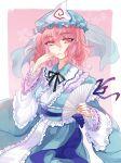 1girl blue_kimono blush center_frills eyebrows_visible_through_hair folding_fan frilled_kimono frilled_sleeves frills hair_between_eyes hand_fan hand_to_own_mouth hat highres holding holding_fan japanese_clothes kanta_(pixiv9296614) kimono long_sleeves looking_at_viewer mob_cap obi pink_eyes pink_hair saigyouji_yuyuko sash short_hair smile solo touhou triangular_headpiece wide_sleeves