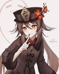 1girl :d ark_john_up bangs black_nails brown_hair chinese_clothes commentary_request eyebrows_visible_through_hair flower genshin_impact ghost hair_between_eyes hat hat_flower hat_ornament hu_tao_(genshin_impact) index_finger_raised long_hair long_sleeves looking_at_viewer open_mouth red_eyes sidelocks smile symbol-shaped_pupils twintails twitter_username white_background wide_sleeves