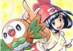 1girl :d arm_up bag bangs beanie between_breasts black_hair bracelet breasts commentary_request eyelashes floral_print grey_eyes hat highres index_finger_raised jewelry looking_at_viewer oka_mochi open_mouth pokemon pokemon_(creature) pokemon_(game) pokemon_sm red_headwear rowlet selene_(pokemon) shiny shiny_hair shirt short_sleeves shoulder_bag smile strap_between_breasts t-shirt tied_shirt tongue traditional_media upper_teeth yellow_background z-ring