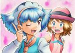 2girls ;d ascot bangs bare_arms blue_eyes blue_hair blue_ribbon blush brown_hair collarbone collared_shirt commentary_request eyelashes hairband hand_up hat headdress highres index_finger_raised long_sleeves miette_(pokemon) multiple_girls neck_ribbon oka_mochi one_eye_closed open_mouth orange_hairband orange_neckwear pink_background pokemon pokemon_(anime) pokemon_xy_(anime) purple_headwear ribbon serena_(pokemon) shirt short_hair sleeveless smile tongue traditional_media vest violet_eyes