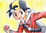 1boy backpack backwards_hat bag bangs baseball_cap black_eyes black_hair black_shirt commentary ethan_(pokemon) grey_bag hand_up hat highres holding holding_poke_ball jacket long_sleeves looking_to_the_side male_focus oka_mochi open_mouth poke_ball poke_ball_(basic) pokemon pokemon_(game) pokemon_hgss red_jacket shirt short_hair smile solo tongue traditional_media yellow_background