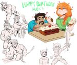 ! !! 1boy 1girl alex_(minecraft) ass_visible_through_thighs bird blush braid braided_ponytail breasts brown_hair bucket cake character_name chicken closed_eyes eating egg english_commentary eyebrows_visible_through_hair facial_hair farming food greyscale hair_between_eyes happy_birthday heart holding holding_cake holding_food holding_sword holding_weapon minecraft monochrome multiple_views muscular muscular_male mustache orange_hair pants partially_colored shirt short_sleeves simple_background smile steve_(minecraft) sweat sword table void_dot_exe weapon white_background