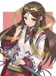1girl absurdres brown_hair chest_jewel fan_la_norne gonzarez highres hime_cut japanese_clothes long_hair solo staff xenoblade_chronicles_(series) xenoblade_chronicles_2 xenoblade_chronicles_2:_torna_-_the_golden_country yellow_eyes