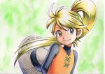 1girl bangs black_undershirt blonde_hair closed_mouth commentary_request eyelashes floating_hair green_background grey_eyes grey_headwear hair_tie hat hat_removed headwear_removed highres long_hair oka_mochi orange_tunic pokemon pokemon_adventures ponytail smile solo tied_hair traditional_media undershirt yellow_(pokemon)