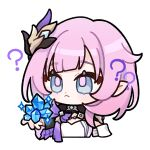 1girl :< ? artist_request bangs blue_eyes closed_mouth crystal elysia_(honkai_impact) hair_between_eyes hair_ornament holding honkai_(series) honkai_impact_3rd long_hair looking_at_object official_art pink_hair pointy_ears solo transparent_background