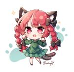 1girl :d animal_ears bangs black_bow black_footwear black_ribbon bow braid cat_ears cat_tail chibi dress eyebrows_visible_through_hair full_body green_dress hair_bow heart highres kaenbyou_rin leg_ribbon long_hair long_sleeves looking_at_viewer multiple_tails nekomata open_mouth paw_print pudding_(skymint_028) red_eyes redhead ribbon side_braids signature smile solo standing tail touhou twin_braids two_tails