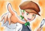 1boy :d black_vest bow bowtie brown_headwear cilan_(pokemon) commentary_request green_eyes green_hair green_neckwear hands_up hat highres holding_magnifying_glass long_sleeves male_focus no_sclera oka_mochi open_mouth orange_background pokemon pokemon_(anime) pokemon_bw_(anime) shirt short_hair smile solo tongue traditional_media upper_teeth vest white_shirt