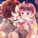 1boy 1girl black_hair brown_hair butterfly_hair_ornament clothes coat commentary_request couple earrings hair_ornament japanese_clothes jewelry kamado_tanjirou kimetsu_no_yaiba long_sleeves multiple_boys open_mouth pink_scarf purple_hair red_eyes redhead scarf side_ponytail simple_background smile snow snowing tsuyuri_kanao violet_viora yellow_coat