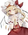 1girl ascot bangs blonde_hair bow closed_mouth cowboy_shot crystal eyebrows_visible_through_hair flandre_scarlet hair_between_eyes hat hat_bow highres looking_at_viewer mob_cap one_eye_closed one_side_up own_hands_together petticoat puffy_short_sleeves puffy_sleeves rainbow_order red_bow red_eyes red_shirt red_skirt shirt short_sleeves simple_background skirt solo sorani_(kaeru0768) standing touhou white_background white_headwear wrist_cuffs yellow_neckwear