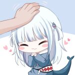 1girl :3 ^_^ bangs blue_background blue_hair blue_hoodie blush_stickers closed_eyes closed_mouth commentary drawstring fish_tail gawr_gura grey_hair hair_ornament headpat heart highres hololive hololive_english honyang hood hood_down hoodie long_hair long_sleeves motion_lines multicolored_hair puffy_long_sleeves puffy_sleeves shark_tail sleeves_past_wrists solo_focus streaked_hair tail two-tone_background two_side_up virtual_youtuber white_background