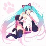 1girl :d animal_ears aqua_hair bare_shoulders black_footwear black_legwear black_skirt black_sleeves blue_eyes boots breasts cat_ear_headphones cat_ears collared_shirt commentary detached_sleeves fake_animal_ears full_body gradient_hair hakusai_(tiahszld) hand_up hatsune_miku headphones high_heel_boots high_heels long_hair long_sleeves looking_at_viewer multicolored_hair open_mouth pink_hair pink_neckwear pleated_skirt romaji_text shirt skirt sleeveless sleeveless_shirt small_breasts smile solo symbol-only_commentary thigh-highs thigh_boots twintails very_long_hair vocaloid white_background white_shirt wide_sleeves