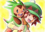 1girl :d backpack bag bangs brown_hair capelet chespin commentary eyebrows_visible_through_hair eyelashes green_capelet green_headwear hands_up hat highres holding_strap mairin_(pokemon) oka_mochi open_mouth orange_bag orange_eyes pokemon pokemon_(anime) pokemon_(creature) pokemon_on_back pokemon_xy_(anime) shirt short_hair smile tongue traditional_media upper_body yellow_background yellow_shirt