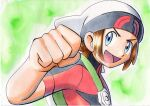 1boy :d backpack bag beanie blue_eyes brendan_(pokemon) brown_hair clenched_hand commentary green_background green_bag hand_up hat highres jacket male_focus oka_mochi open_mouth pokemon pokemon_(game) pokemon_oras red_jacket short_hair short_sleeves smile solo tongue traditional_media upper_body white_headwear