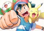 1boy ash_ketchum bangs baseball_cap blue_shirt bracelet brown_eyes clenched_hand commentary_request green_hair hat highres jewelry male_focus oka_mochi on_shoulder open_mouth pikachu pokemon pokemon_(anime) pokemon_(creature) pokemon_on_shoulder pokemon_sm_(anime) red_headwear rowlet shirt short_hair short_sleeves smile striped striped_shirt t-shirt tongue traditional_media upper_teeth white_background z-ring