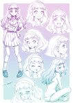 1girl :d =3 ^_^ arms_between_legs back barefoot belt blush bow breasts character_sheet chestnut_mouth closed_eyes crossed_legs full_body gradient gradient_background hairband hand_on_hip highres indian_style kazuma_muramasa laura_(precure) loafers long_hair loose_socks medium_breasts monochrome open_mouth panties pleated_skirt portrait precure purple_theme saliva school_uniform serafuku shoes short_sleeves sitting skirt smile socks standing sweat sweatdrop tears thick_eyebrows topless tropical-rouge!_precure underwear underwear_only upper_teeth wavy_hair wavy_mouth