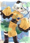1girl alternate_costume boots chinese_clothes commentary_request cross-laced_footwear floral_print frilled_skirt frilled_sleeves frills green_eyes green_skirt hair_between_eyes hat heart heart_of_string highres komeiji_koishi komori_(komo_ricecake) long_sleeves looking_at_viewer mini_hat miniskirt obi rose_print sash shiny shiny_hair shirt short_hair silver_hair skirt sleeves_past_wrists smile solo thigh-highs thigh_boots third_eye touhou wide_sleeves yellow_shirt