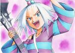 1girl :d arm_up bass_guitar blue_eyes collarbone commentary dress forehead freckles hair_bobbles hair_ornament hand_up highres holding holding_instrument instrument looking_at_viewer oka_mochi open_mouth pokemon pokemon_(game) pokemon_bw2 purple_background roxie_(pokemon) short_hair smile solo spiky_hair strap striped striped_dress tongue topknot traditional_media two-tone_dress upper_body upper_teeth white_hair