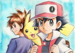 2boys backpack bag bangs baseball_cap black_hair black_shirt blue_background blue_oak brown_bag brown_eyes brown_hair closed_mouth commentary_request hands_up hat highres holding_strap jacket looking_at_viewer looking_back male_focus multiple_boys oka_mochi on_shoulder pikachu pokemon pokemon_(creature) pokemon_(game) pokemon_on_shoulder pokemon_rgby purple_shirt red_(pokemon) red_jacket shirt short_hair short_sleeves smile spiky_hair traditional_media