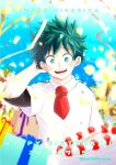 1boy :d bangs blurry boku_no_hero_academia buthikireta character_name collared_shirt commentary_request confetti dated depth_of_field freckles gift green_eyes green_hair hand_in_hair hand_up happy_birthday highres looking_at_viewer male_focus midoriya_izuku necktie open_mouth shirt short_hair short_necktie smile solo teeth twitter_username upper_body