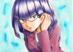 1girl adjusting_hair bangs black_shirt blue_background blunt_bangs collarbone commentary_request glasses hair_behind_ear hand_up highres jacket long_sleeves matori_(pokemon) oka_mochi open_mouth pokemon pokemon_(anime) pokemon_xy_(anime) purple_hair purple_jacket shiny shiny_hair shirt short_hair solo team_rocket tongue traditional_media violet_eyes