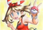 1girl :d bangs blue_eyes bracelet brown_hair collarbone commentary_request eyelashes fanny_pack hands_up highres holding holding_poke_ball jewelry may_(pokemon) medium_hair oka_mochi open_mouth poke_ball poke_ball_(basic) pokemon pokemon_(game) pokemon_oras red_shirt shirt sleeveless sleeveless_shirt smile solo tongue traditional_media upper_body upper_teeth yellow_background yellow_bag
