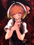 1girl absurdres bangs black_background black_nails black_skirt black_vest blonde_hair blood blood_on_face breasts closed_mouth collar collared_shirt eyebrows_visible_through_hair eyes_visible_through_hair hair_between_eyes hair_ribbon hands_up highres looking_at_viewer medium_breasts necktie orange_hair puffy_short_sleeves puffy_sleeves red_background red_eyes red_neckwear red_ribbon ribbon rumia sakurame shirt short_hair short_sleeves skirt solo tongue tongue_out touhou vest white_shirt white_sleeves