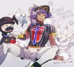 1boy arm_support baseball_cap bright_pupils champion_uniform closed_mouth commentary_request cup dark-skinned_male dark_skin drinking_straw english_text eyelashes facial_hair frosmoth gloves hat holding holding_cup holding_towel leggings leon_(pokemon) long_hair male_focus mr._rime one_eye_closed pokemon pokemon_(creature) pokemon_(game) pokemon_swsh purple_hair shield_print shirt shoes short_shorts short_sleeves shorts single_glove sitting smile snom snowflakes spread_legs stj_pkmn sweat sword_print towel vanillite white_legwear white_pupils white_shorts yellow_eyes