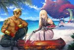 3boys bangs bare_shoulders beach beowulf_(fate) black_gloves black_hair black_pants black_shirt blonde_hair blurry blurry_background brown_eyes chain chibi commentary_request day depth_of_field diarmuid_ua_duibhne_(fate/grand_order) eyebrows_visible_through_hair fate/grand_order fate_(series) fingerless_gloves fionn_mac_cumhaill_(fate/grand_order) fire food gae_buidhe_(fate) gae_dearg_(fate) gloves glowing glowing_eyes green_eyes green_pants hagino_kouta hair_between_eyes hand_wraps highres holding holding_plate holding_polearm holding_spear holding_weapon huge_weapon long_hair male_focus meat mountain multiple_boys outdoors palm_tree pants plate polearm red_eyes running sand shirt shirtless sleeveless sleeveless_shirt spear tongs tree twitter_username v-shaped_eyebrows very_long_hair water weapon
