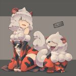 1girl bangs bare_shoulders claws commentary_request creature_and_personification fang grey_eyes grey_hair hair_over_one_eye hisuian_form hisuian_growlithe kuromiya long_bangs medium_hair open_mouth orange_legwear personification pokemon pokemon_ears pokemon_tail smile tail thigh-highs tongue