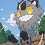 blurry clouds commentary_request day from_below galarian_form galarian_meowth highres leaves_in_wind no_humans outdoors pokemon pokemon_(creature) ruinai sharp_teeth sitting sky solo teeth toes tree