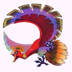 absurdres commentary english_commentary from_side highres ho-oh legendary_pokemon megadinkloid no_humans open_mouth pokemon pokemon_(creature) red_eyes solo talons tongue white_background