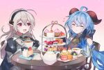 2girls absurdres ahoge armor armored_dress bangs bare_shoulders bell black_gloves black_headband blue_hair blush bow cake cake_slice chair closed_eyes closed_mouth commission corrin_(fire_emblem) corrin_(fire_emblem)_(female) crossover cup cupcake curled_horns dress eating eyebrows_visible_through_hair fire_emblem fire_emblem_fates food fruit ganyu_(genshin_impact) gauntlets genshin_impact gloves goat_horns grey_hair hair_between_eyes hair_bow hand_on_own_cheek hand_on_own_face headband heart highres holding holding_cup horns juliet_sleeves lips long_hair long_sleeves looking_at_another macaron manakete multiple_girls neck_bell open_mouth pink_lips pointy_ears ponytail pudding puffy_sleeves red_eyes red_horns sidelocks sitting smile strawberry symbol-only_commentary table teacup teapot very_long_hair wide_sleeves yasaikakiage